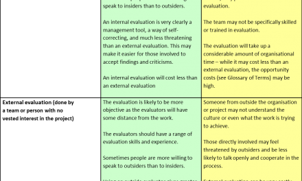 Advantages and disadvantages of internal and external evaluations